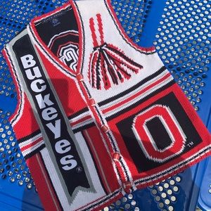 Ohio state buckeyes knitted cardigan sweater